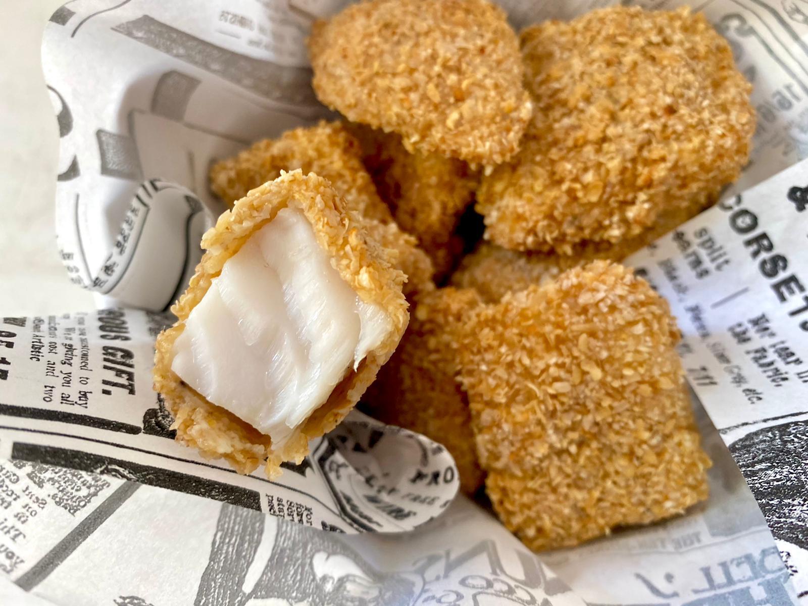 Nuggets de merluza rebozados con salvado de avena