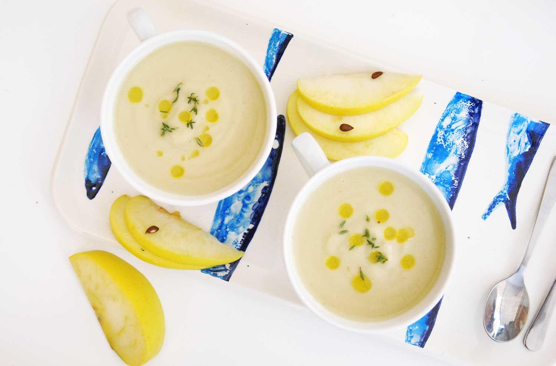 Receta crema de coliflor y manzana con aceite de trufa