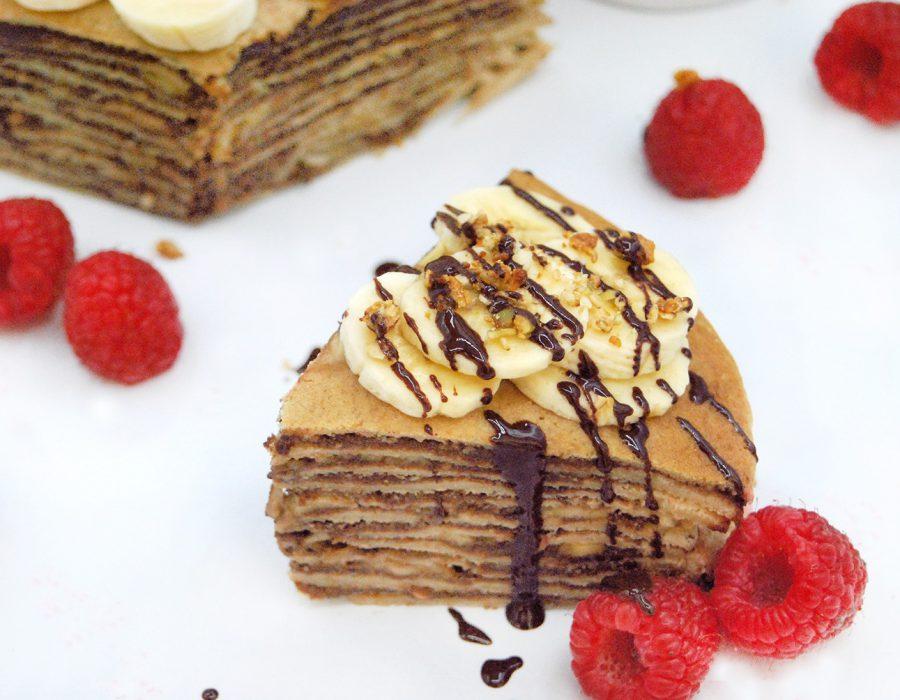 Receta tarta crepes con crema casera de chocolate