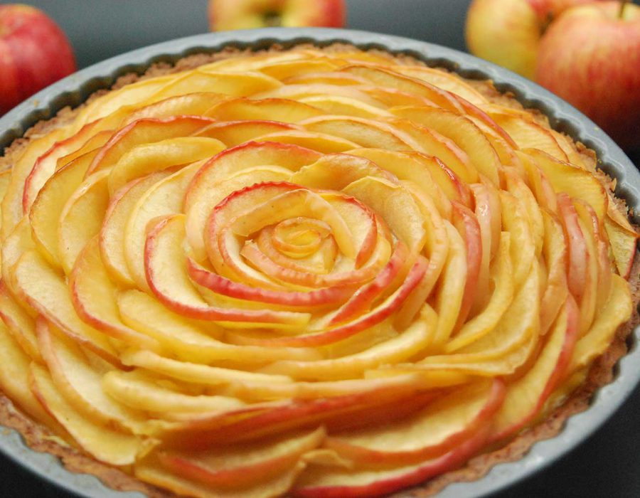 Receta tarta rosa de manzana con vainilla