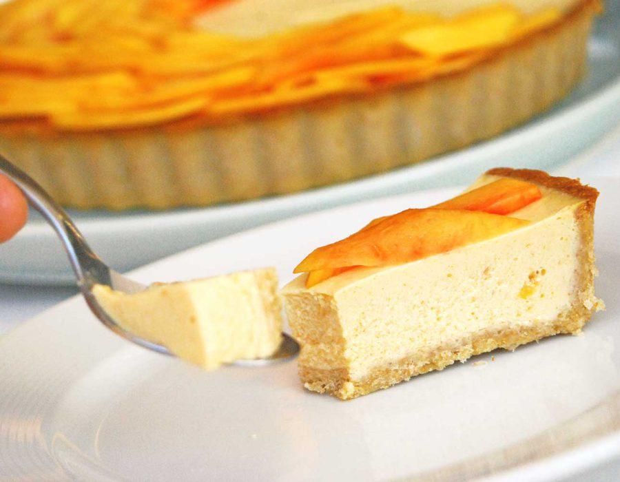 Receta tarta de yogur con melocotón